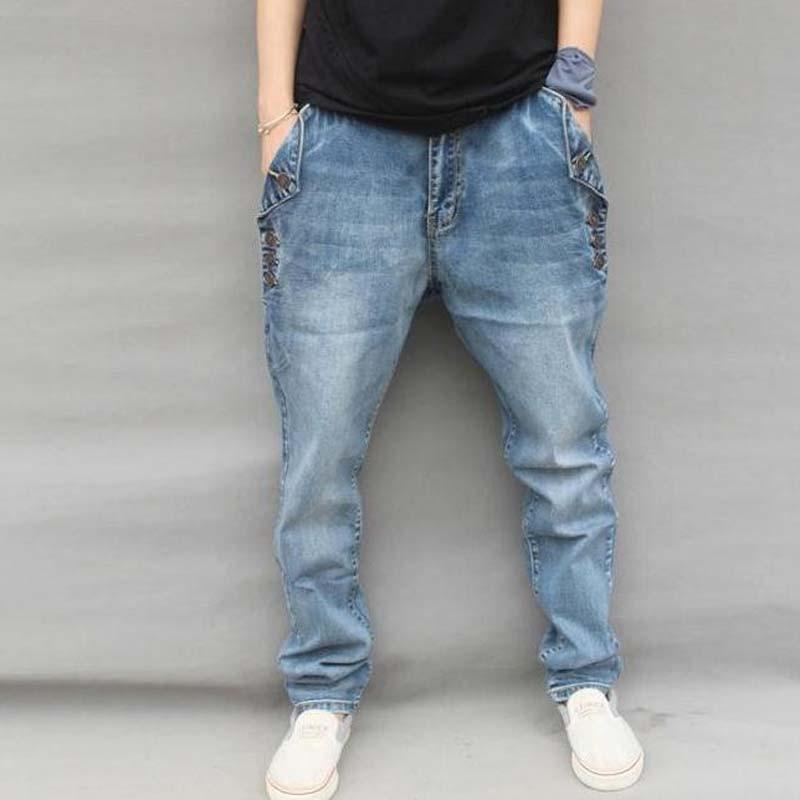 2017 New Men Jeans Hip Hop Pants Elastic Plus Size Baggy Jogger Pants Brand Harem Pants