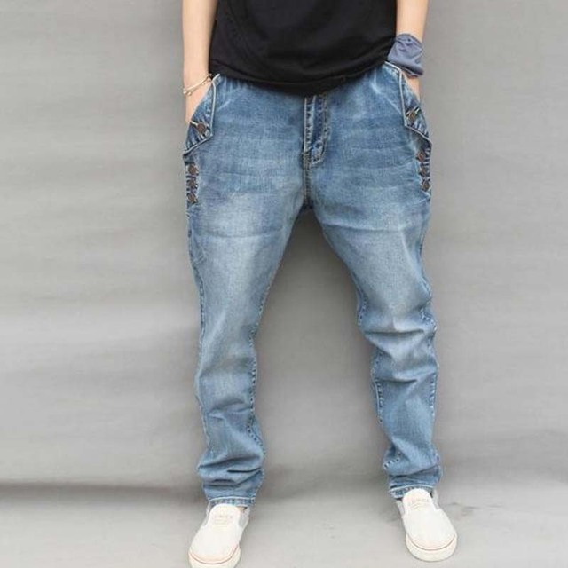 New Men Jeans Hip Hop Pants Elastic Plus Size Baggy Jogger Pants Brand Harem Pants
