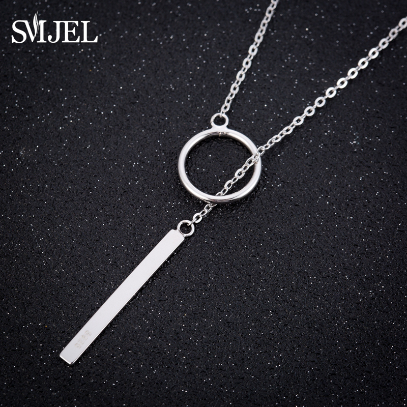 US $2 09 30% OFF|SMJEL New Circle with Bar Necklaces Mens 925 Silver Chain  Necklace Geometric Jewelry Women Accessories Collier Christmas -in Pendant