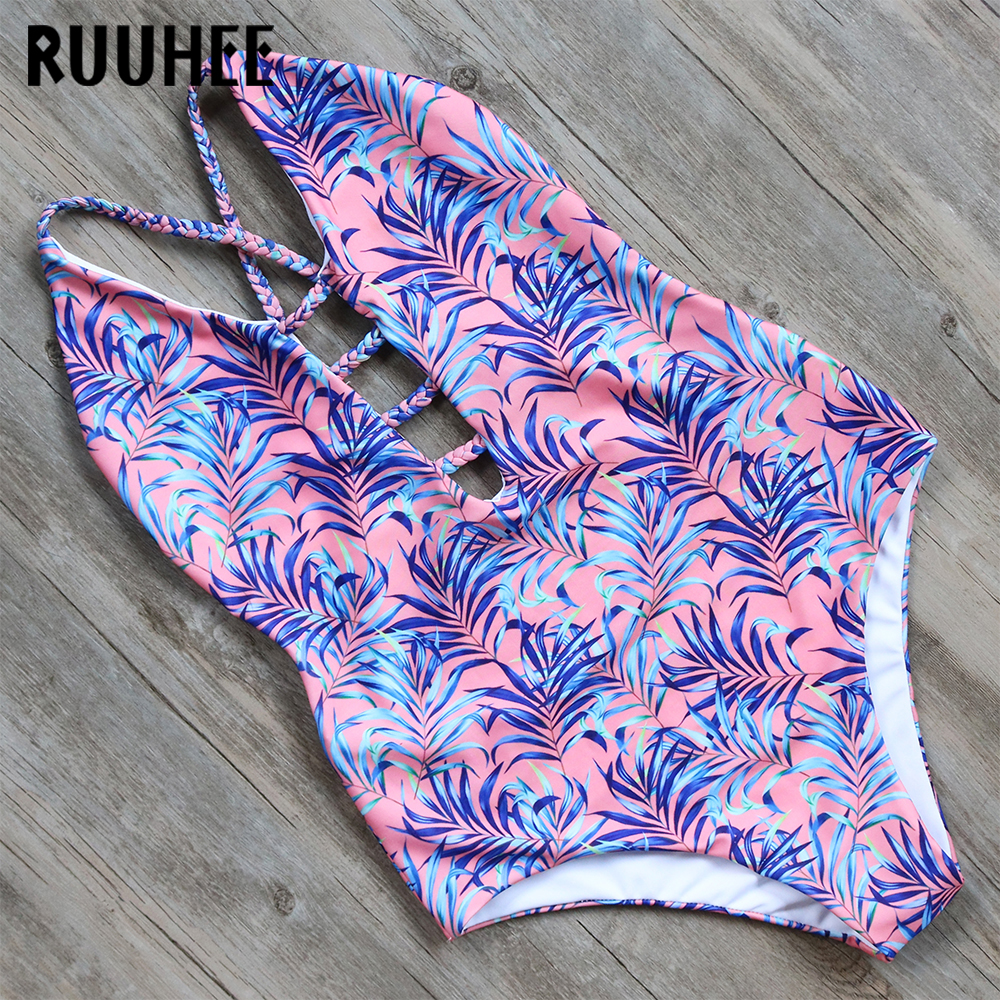RUUHEE One Piece Swimsuit Swimwear Women Printed Sexy Bodysuit Bathing Suit Female Beachwear Swim Suit Monokini With Pads 2018 tequila por favor letter custom swimsuit one piece swimwear bathing suit women sexy bodysuit funny swimsuits jumpsuits rompers