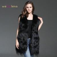 2018 Для женщин Welfurlena 75 см монгольский овечий жилет Модные однотонные Для женщин из натурального меха, натуральный, пальто Colete Feminino Plus Размеры