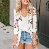BIUBIU Women Floral Print Suit Cardigan Full Sleeve Slim Spring Jackets Pockets Woman Casual Clothing Office Ladies Jackets 2019