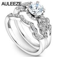 Leaf Pattern Moissanites Engagement Ring Sets 14K White Gold 1CT Forever Brilliant Lab Grown Diamond Ring Wedding Bridal Set