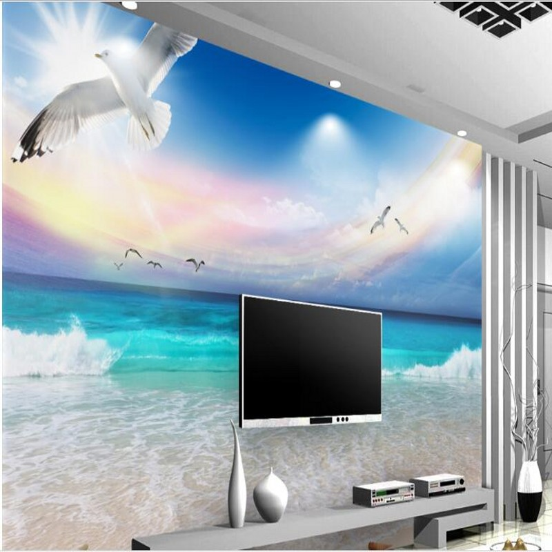 US $8.85 41% OFFbeibehang Custom large frescoes blue sky and white clouds  aesthetic beach seaview TV backdrop wallpaper papel de parede-in Wallpapers