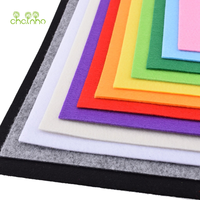 3mm Thick Felt Non Woven Fabric Polyester Cloth For Sewing Dolls Crafts Home Decoration Pattern Bundle 12pcs 30*30cm PFH030