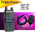 Uv82hx 8 w walkie talkie baofeng uv 82 de doble banda de fm transmisor-receptor de radio walky talky profesional uv 5re plus + altavoz + auricular