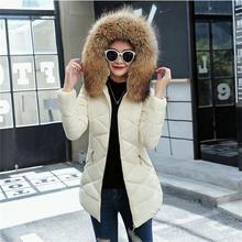 2018 Winter jacket women 100% true Raccoon fur collar Hooded outerwear long down cotton-padded jacket coat winter coat women