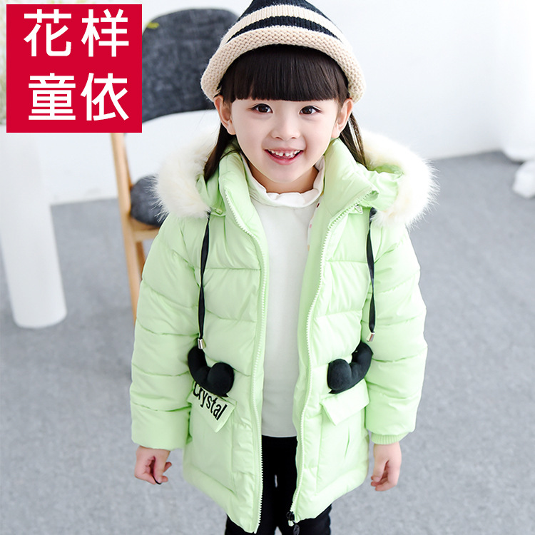 Fur Collar Hooded Down Jacket For Girls Long Cotton padded Girls Winter Coat Winter 2016 New Girls Clothing Toddler Jackets B164