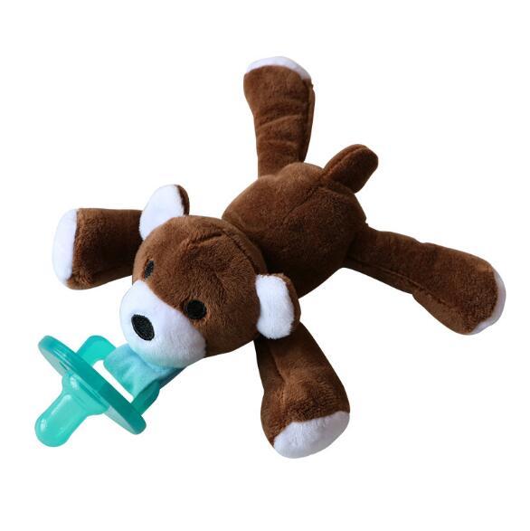 Милая Детская плюшевая игрушка, соска для новорожденных мальчиков и девочек, мультяшная Соска-пустышка Силиконовая пустышка, соска, аксессуары для кормления - Цвет: bear
