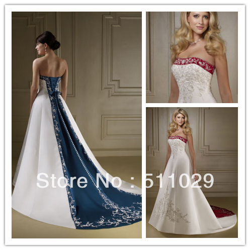 Wd 1871 Por Navy Blue And White Wedding Dress Two Tone