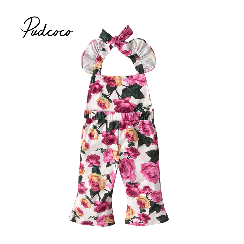 Pudcoco 2018 Floral Infant Newborn Baby Girl Romper Floral Print Sleeveless Long Flared Pants Jumpsuit Sunsuit Clothes Outfit