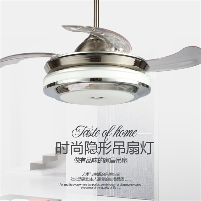 FAN LAMP 36 Inch 4 Color Changing Light Modern LED Invisible Ceiling Fan  Light Remote Control