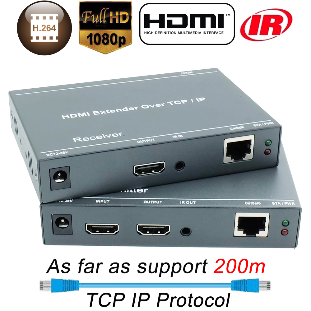 660ft mejor que HDBitT H.264 HDMI Extender sobre TCP IP HDMI IR extensor por Ethernet RJ45 CAT5/5e/6 Cable divisor HDMI