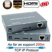 660ft mejor que HDBitT H.264 HDMI Extender sobre TCP IP HDMI IR extensor por Ethernet RJ45 CAT5/5e/6 Cable divisor HDMI