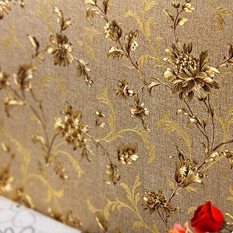 New Modern gold foil wallpaper Chinese Style classical flower golden background hotel restaurant entrance living room wallpaper