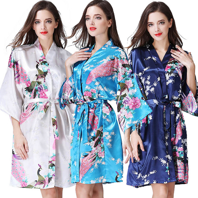 Women s Satin Short Floral Kimono Robe Dressing Gown Peacock Bathrobe Short Silk  Bridal Robe Hem Party 3a444a487e5c