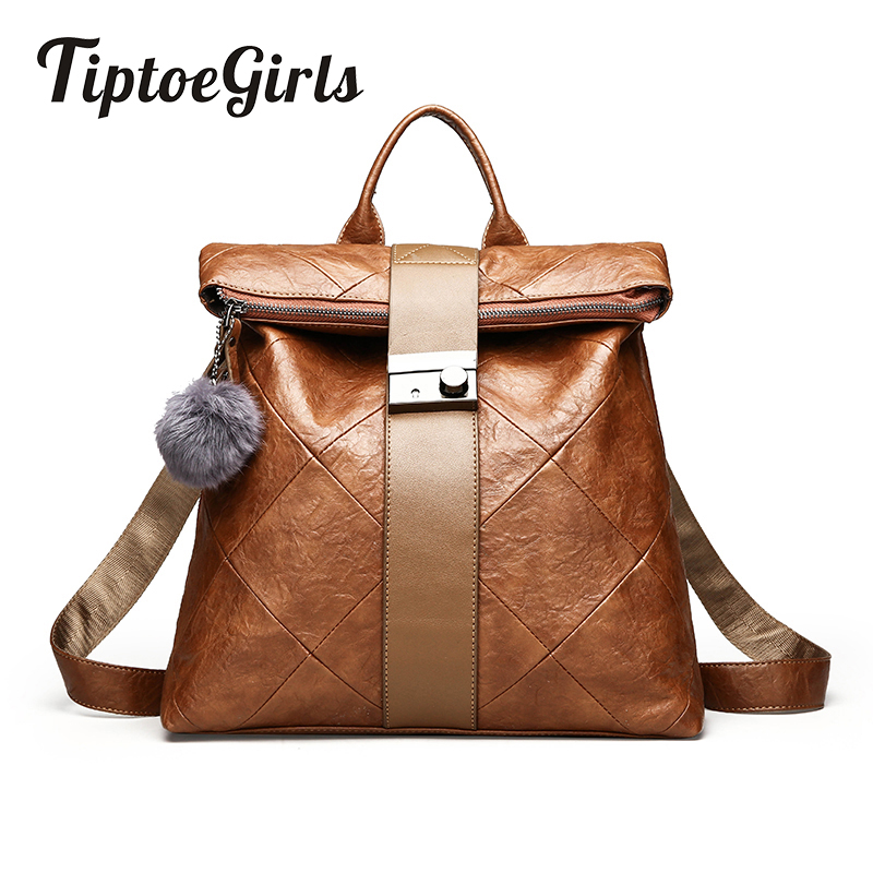 Tiptoegirls Backpack with Hair Ball Female New Wave Personality Travel Bag Wild Casual Fashion Soft Leather Anti-Theft BackpackTiptoegirls Backpack with Hair Ball Female New Wave Personality Travel Bag Wild Casual Fashion Soft Leather Anti-Theft Backpack