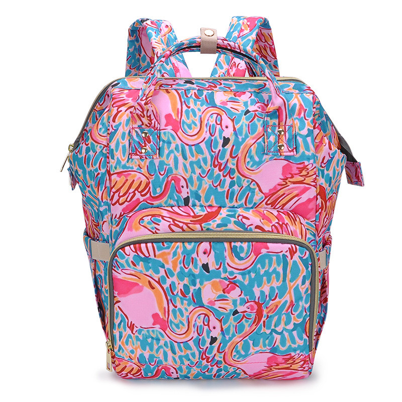9580a3d16 Outdoor Newborn Baby Clothes Backpack Flamingo/crown/graffiti/rose Pattern  Printed Mummy Diaper Changing Travel Bags Free Drop