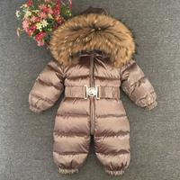 0 5 years russian newbron baby girl and boys winter down jackets real fur 90% white duck down rompers kids outer clothing ws07