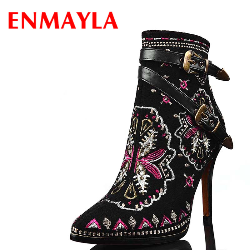 ENMAYLA Autumn Winter Buckle Ankle Boots Women High Heels Genuine Leather Motorcycle Boots Ethnic Embroidered Ladies Shoes ethnic embroidered black cami dress for women