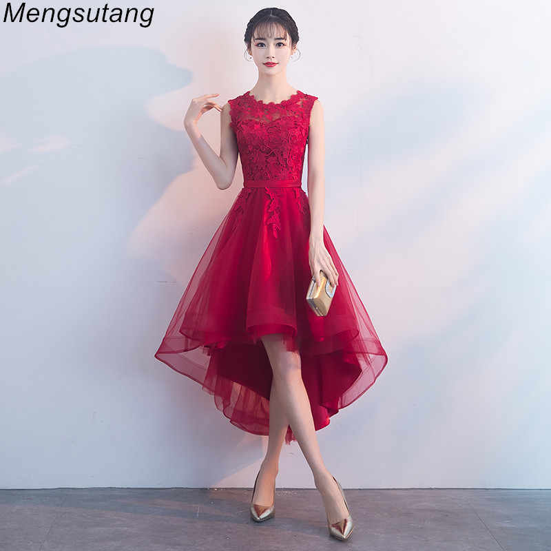Detail Feedback Questions about Robe de soiree Summer Wine Red lace vestido  de festa evening dress Appliques Short Front Long Back Party Dresses prom  ... 745cfa154