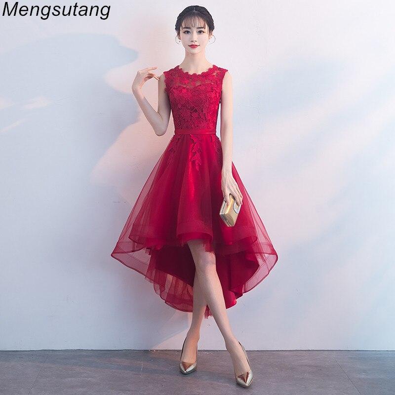 Robe de soiree Summer Wine Red lace vestido de festa   evening     dress   Appliques Short Front Long Back Party   Dresses   prom   dresses