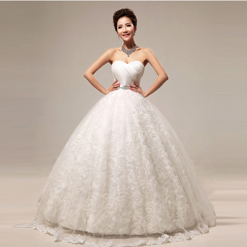 Free Shipping YiiYa 2016 Quality New Vestidos De Novia Red White Rose Bridal Wedding Frocks Dresses Lace Gowns HS295 In From
