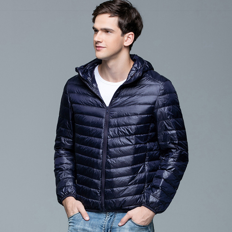 Image 2 - Men Winter Coat Fashion Hooded 90% White Duck Down Jackets Plus  Size Ultralight Down Coat Portable Slim Down Parkas 4XL 5XL 6XLjackets  for young menparka appareljacket at low price