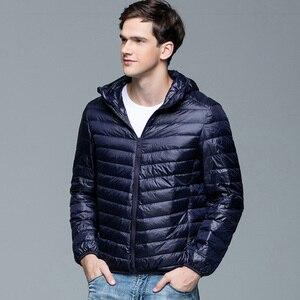 Image 2 - Men Winter Coat Fashion Hooded 90% White Duck Down Jackets Plus Size Ultralight Down Coat Portable Slim Down Parkas 4XL 5XL 6XL