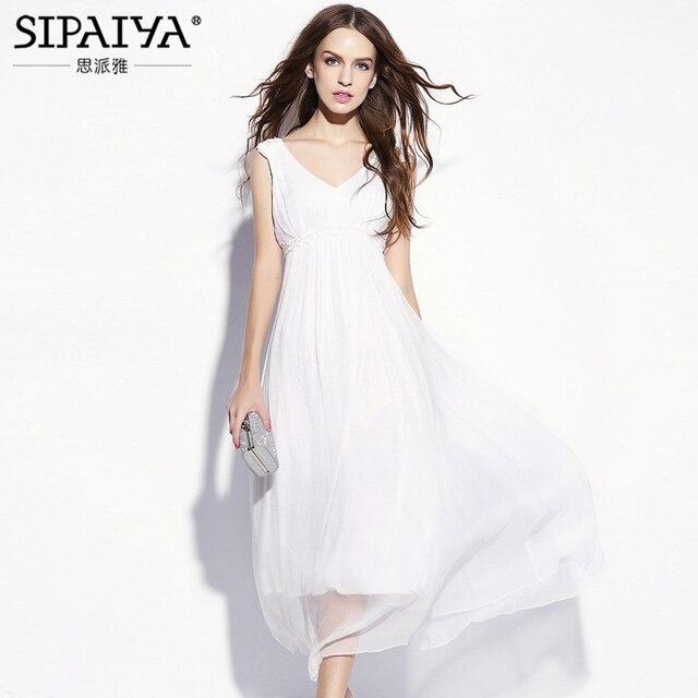 9d1167b169d Vestido blanco elegante sin mangas con cuello en V para mujer vestido de  seda Natural 2017