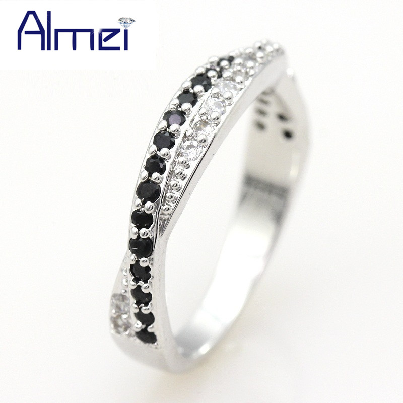 Almei Black 925 Silver Ring for...