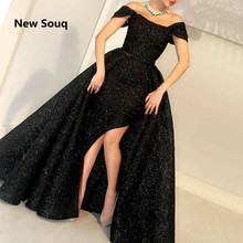 цена на Black Sequined Side Split Mermaid Evening Dresses With Detachable Skirt Off The Shoulder Sweep Train Long Prom Dress