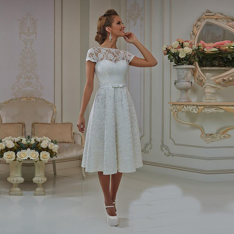 Elegant Lace Sleeve Short Wedding Dresses 2016 Scoop Neck: BU 2016 Elegant Lace A Line Wedding Dresses Boat Neck