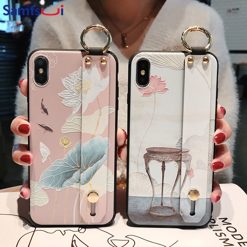 Samtsui Plum Flower TPU Holder Case For Huawei Mate20pro 10 P30pro Lite P10plus Nova4 4e Nova3 3i 3e 2s Wrist Strap Coque