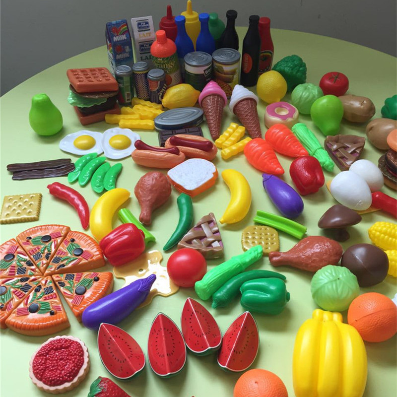 120pcs Pretend Play kitchen Cutting Fruit Vegetable Plastic Early Education Simulation Kitchen food for doll Toys For kids 12pcs plastic kitchen pretend play toys cutting fruit vegetable food basket children role play educational kitchen toys for kids