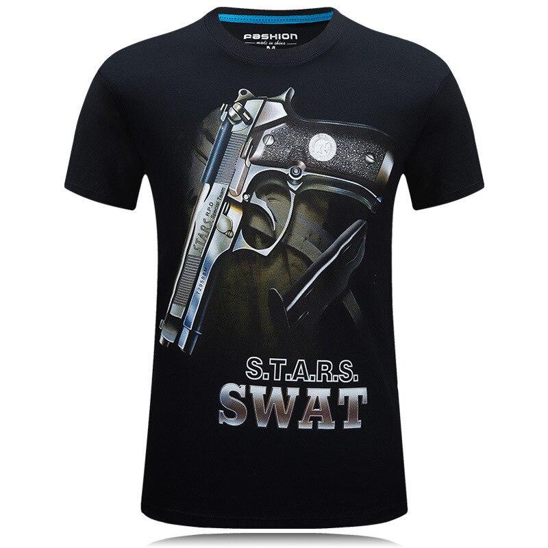 3dプリントtシャツ印刷男性tシャツ銃グラフィックメンズt男性シャツオムメンズ服tシャツtシャツスリムフィット