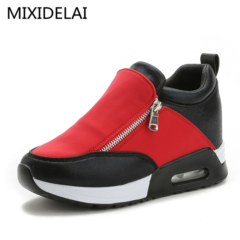 Women wedge shoes thick soled casual breathable height increasing platform shoes chaussure femme Fashion Shoes Black