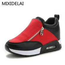 Women wedge shoes thick soled casual breathable height increasing platform shoes chaussure femme Fashion Shoes Black Silver
