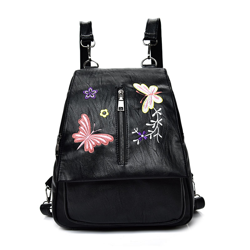 New Embroidery Butterfly Women Backpack School Bags For Girls Brand Fashion PU Backpacks For Women 2019 China Style Mochila