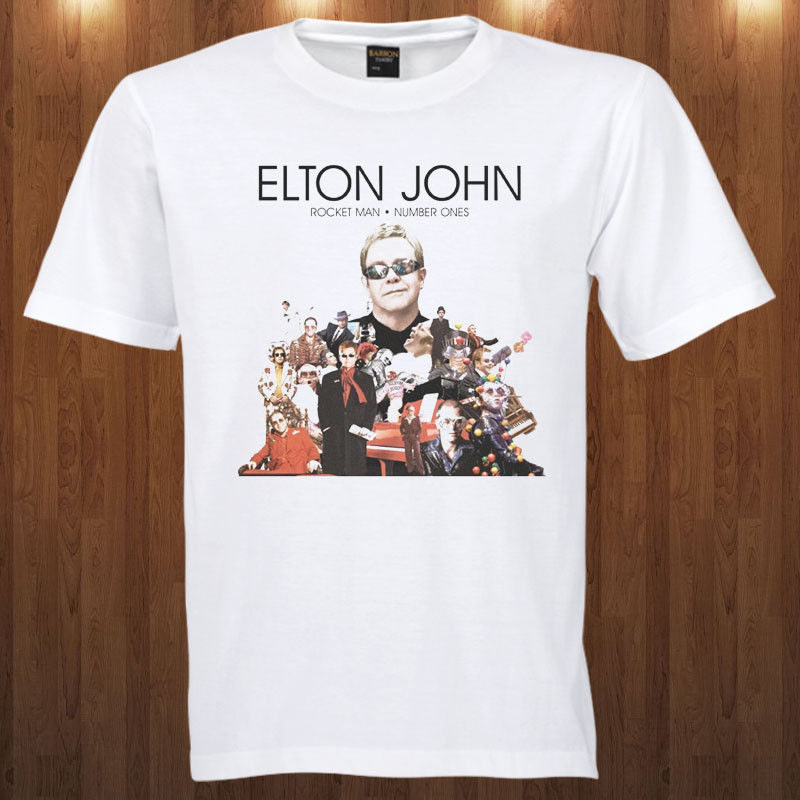 Elton John Tee Pop Rock Singer , Pianist , and Composer S-3XL T-Shirt Hip Hop Clothing Cotton Short Sleeve T Shirt Top Tee image