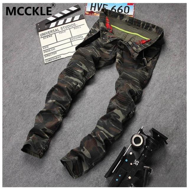 New Mens Camouflage Jeans Motorcycle Camo Military Slim Fit Famous Designer Biker Jeans With Zippers Men AY971