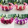 Rosa flor Headbands para mulheres casamento Festival dupla linha Floral Hairbands guirlanda