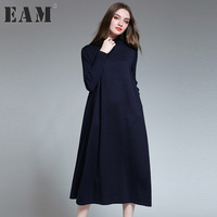 EAM 2017 New Autumn Winter High Collar Long Sleeve Solid Color Dark Blue Loose Knitting