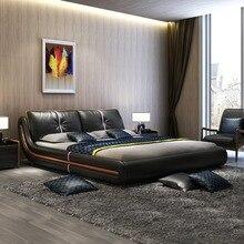 Рама DYMASTY натуральная кожа мягкая кровать современный дизайн кровать bett, cama мода king/queen Размер мебель для спальни