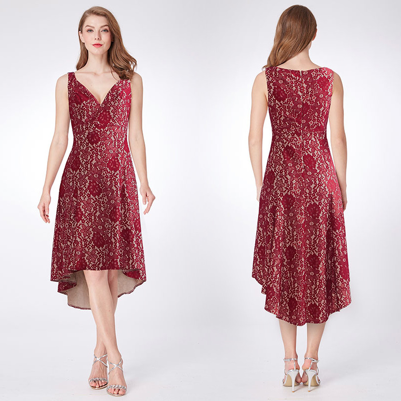 Ever Pretty Brand New V-neck Lace Homecoming Dresses Burgundy New A-line Hi-lo Sleeveless Elegant Short Cocktail Party Dresses