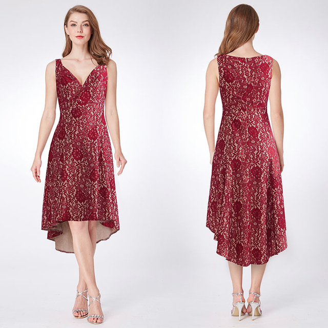 659a2b997eb Ever Pretty Brand New V-neck Lace Homecoming Dresses Burgundy New A-line  Hi-lo Sleeveless Elegant Short Cocktail Party Dresses