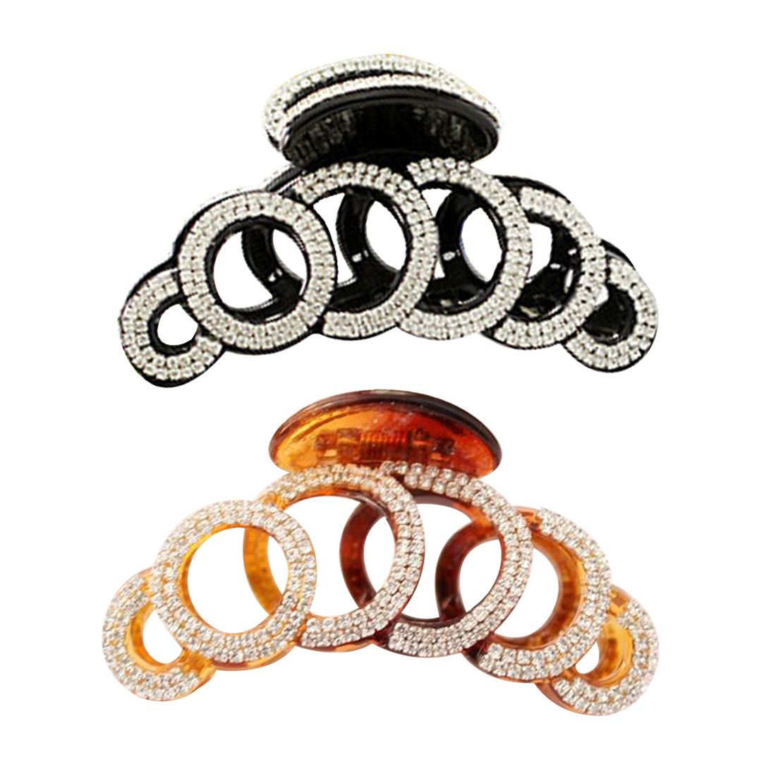 Large 6 Circles Crystal Hair Clips Girls Stones Hairpins Crab Claws Jaw Clamp Hair Jewelry for Women Black Brown in Women 39 s Hair Accessories from Apparel Accessories