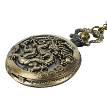 Dragon Pocket Watch Chain Quartz Necklace Watches Open-face Clock Watch Mens Birthday Gift quartz pocket watches mens to my son i love you golden clock for kids child pocket watch necklace chain children s day gifts
