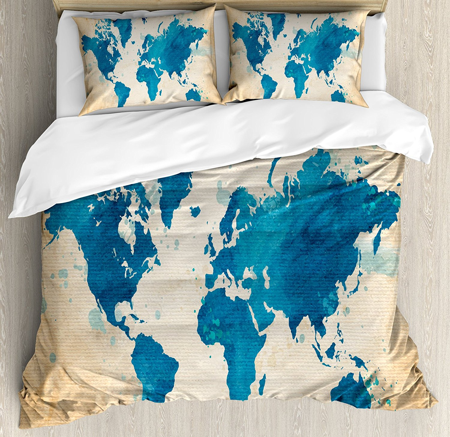 Map duvet cover set artistic vintage world map with watercolor map duvet cover set artistic vintage world map with watercolor brushstrokes on old backdrop print decorative 4 piece bedding set in bedding sets from home gumiabroncs Choice Image