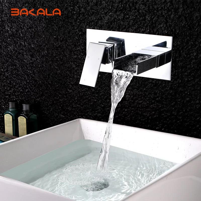 BAKALA Free shipping Bathroom Basin Sink Faucet Wall Mounted Waterfall Chrome Brass Mixer Tap LT 324